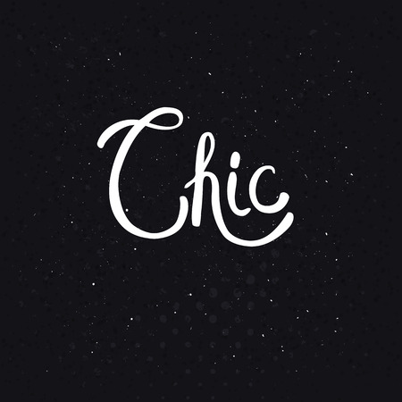 sophistication: Conceptual Chic Text in a Simple White Font Style on a Dotted Abstract Black Background.
