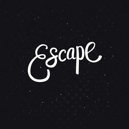 unwind: Conceptual White Escape Text in Simple Font Style on a Dotted Abstract Black Background. Illustration