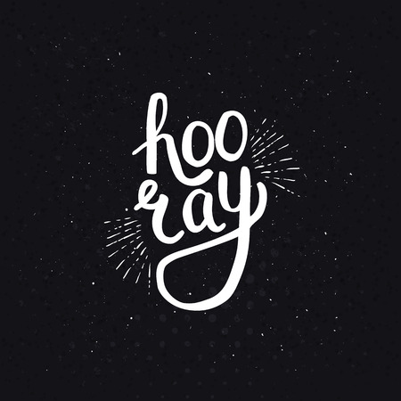 jubilation: Stylish Hooray Text in a White Font Style on a Dotted Abstract Black Background.
