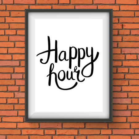 Black Happy Hour Phrase in Simple Text Style Inside a Rectangular Photo Frame Hanging on Brick Wall Vector