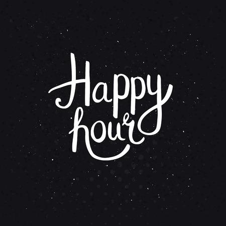 Happy Hours Fase in Simple Wit Font Style op abstracte zwarte achtergrond met stippen.