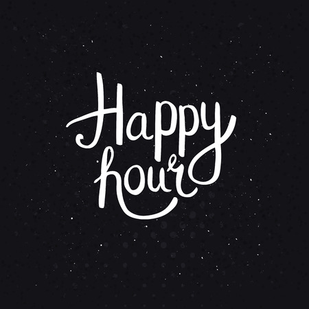 happy: Happy Hours Phase in Simple White Font Style on Abstract Black Background with Dots.