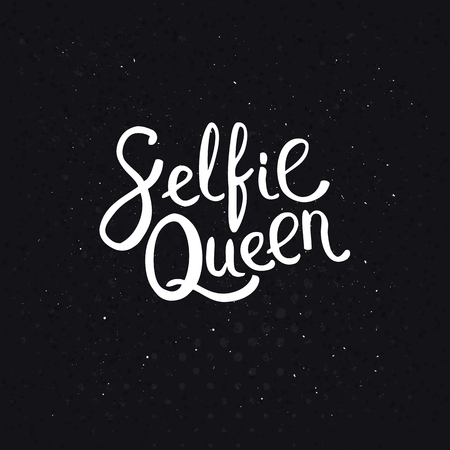 assured: Selfie Queen Texts in Simple White Font Style on an Abstract Black Background with Dots.