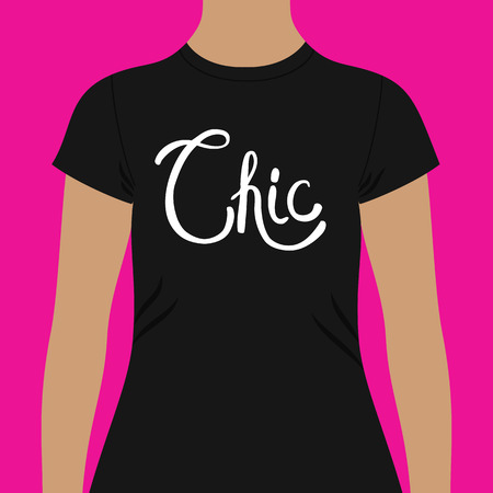 chic woman: Simple Black Woman Shirt Template with White Chic Text In Front, Isolated on a Pink Background Illustration