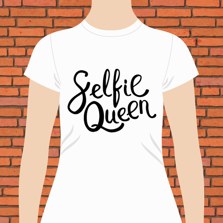 woman white shirt: Simple White Woman Shirt, with Selfie Queen Texts Print in Simple Black Font Style, on Brick Wall Background.