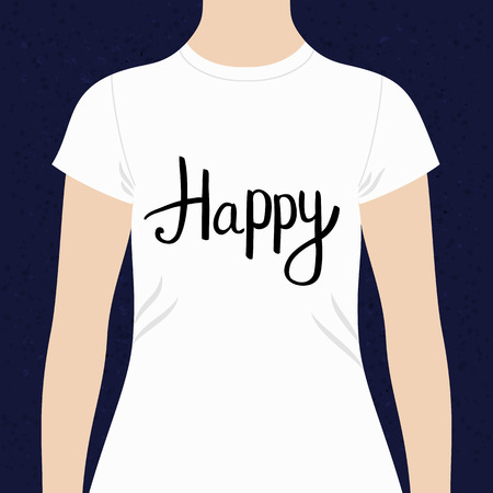 contentment: Happy - motivational t-shirt design template with simple black text on the chest on a white top modeled on a person against a blue background, vector design