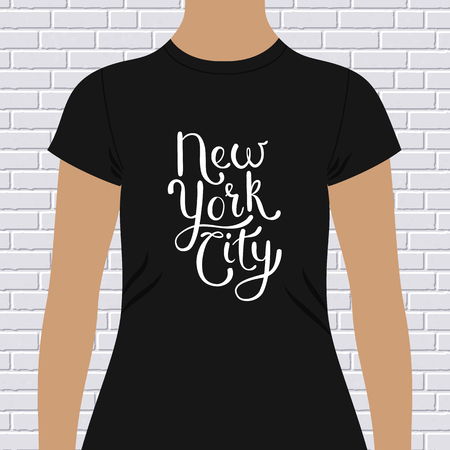 chest wall: New York City t-shirt design with simple decorative flowing white text on a black shirt, vector illustration Illustration