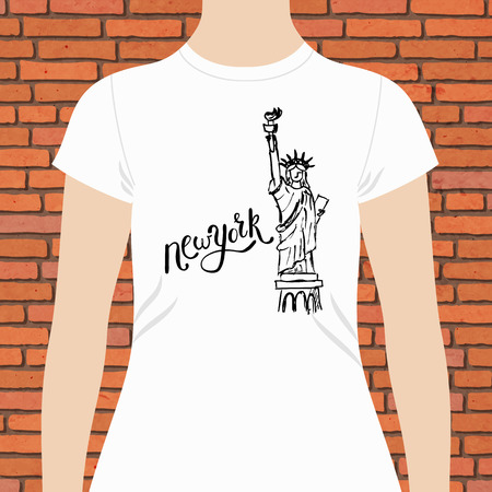 keepsake: Casual White Woman T-Shirt, with New York Texts and Statue of Liberty Design in Black Color, on Brick Wall Background. Illustration
