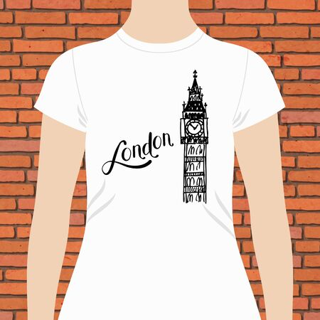 wit: Trendy White Female Shirt Template, wit London Text and Big Ben Tower Design in Black Color, on Brick Wall Background. Illustration