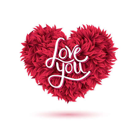 affair: Conceptual Love You Message on Attractive Red Flowers Forming a Heart Shape, Isolated on White Background. Illustration