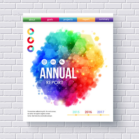 publicity: Creative Business Web Template Emphasizing Annual Reports with Colored Menus and Abstract Graphic Designs on White Brick Wall Background. Illustration