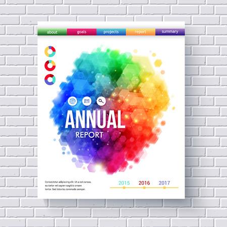 emphasising: Creative Business Web Template Sottolineando relazioni annuali con menu colorato e astratto grafica disegni su sfondo bianco del muro di mattoni.