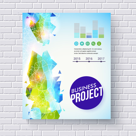 time line: Dynamic fresh business project vector template in green and blue for ecological concepts with bar graphs, time line and editable text