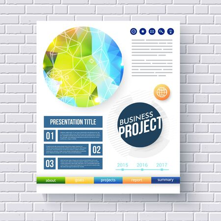 categories: Business report design template for ecological and conservation projects with a fresh blue and green design in a circle with a network overlay, colorful categories and text on a white brick wall
