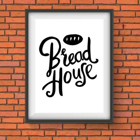 bakery sign: Ilustraci�n del vector de la Casa de la Panader�a Pan Enmarcado sesi�n con colgantes Pan Pan gr�fica en pared de ladrillo rojo