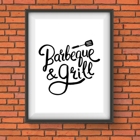 barbeque: Vector Illustration of Framed Barbecue and Grill Restaurant Sign with Lifter Graphic Hanging on Red Brick Wall