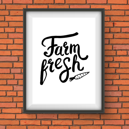 beneficial: Vector Illustration of Framed Sign Advertising Farm Fresh Produce with Graphic of Carrot Hanging on Red Brick Wall Illustration