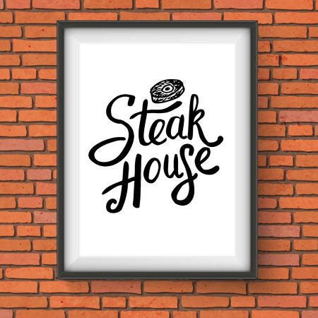 specialities: Vector Illustration of Framed Steak House Restaurant Sign with Steak Graphic Hanging on Red Brick Wall Illustration