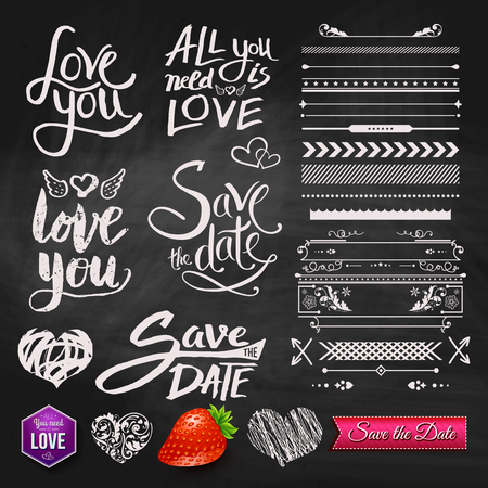 date: Set of Love You, All You Need is Love and Save the Date Text Designs with Assorted Border Patterns, Elements and Symbols on Black Chalkboard Background. Illustration