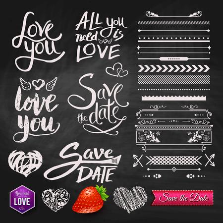 Set van Love You, All You Need Is Love en Save the Date Ontwerpen tekst Diverse Border patronen, en symbolen op zwart bord achtergrond.