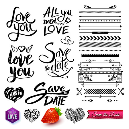 variety: Set of Love Messages Like Love You, Save the Date and All You Need is Love with Variety of Border Styles, Elements and Symbols, Isolated on White Background.