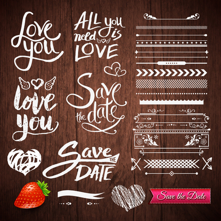 Set of White Love Phrases, Border Patterns and Symbols with Strawberry Fruit and Save the Date Pink Ribbon on a Brown Wooden Background Ilustração