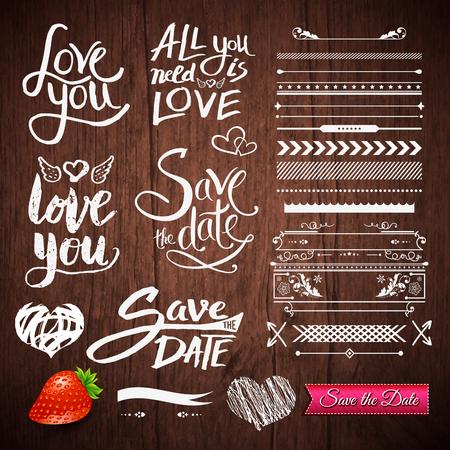Set Wit Love Phrases, Border patronen en symbolen met Strawberry Fruit en Save the Date Pink Ribbon op een bruine houten achtergrond