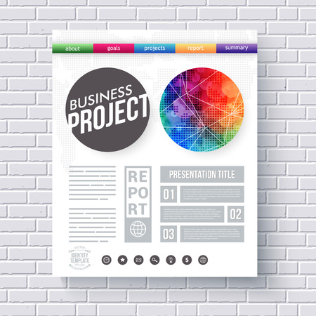 categories: Artistic design template for a Business Project with a vivid multicolored round motif with network overlay, categories, editable text space and boxes and row of icons, vector illustration
