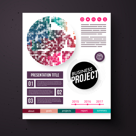 categories: Business Project vector design template in retro colors with editable text space and boxes, an annual date line, categories and abstract geometric circular motif
