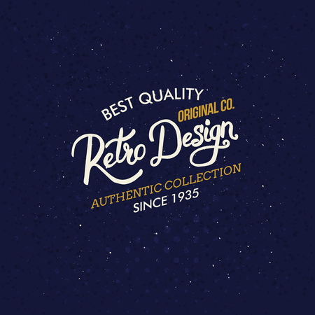 gold textured background: Retro Design clothing label or sign with stylish white and gold script on a textured blue background, vector illustration