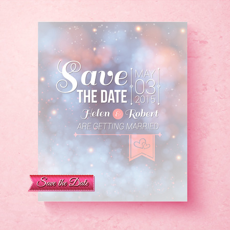 aside: Soft ethereal Save The Date wedding invitation template with a subtle blend of pastel blue and pink and ornate white text over a pink speckled textured background, vector illustration