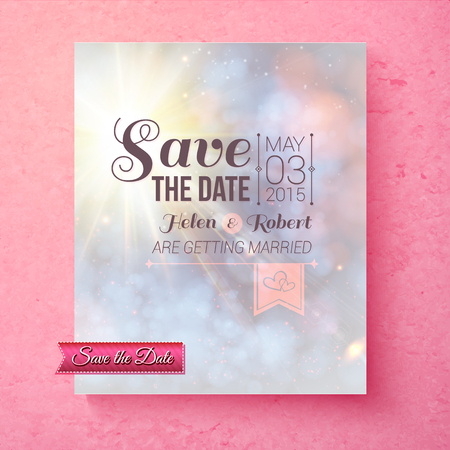 matrimony: Soft spiritual Save The Date wedding template with a blended pastel background over a pink texture with faded effect typescript, vector illustration Illustration