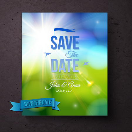 aside: Save The Date wedding card or invitation template for a Spring wedding with a sparkling sunburst over a green meadow and blue sky with flying doves and blue text, vector illustration