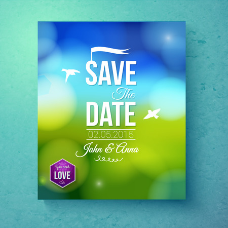 editable invitation: Save The Date wedding invitation template for Spring Wedding with spiritual white doves flying over a green field with blue sky and sparkling bokeh of sunlight, vector illustration