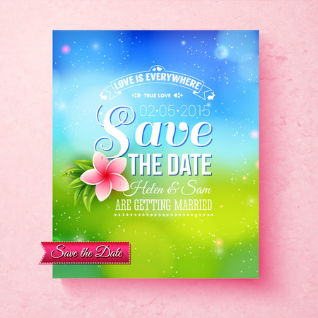 aside: Fresh colorful Spring Save The Date wedding template with editable white text and a pink frangipani flower over a green meadow with sparkling sunlight and a blue sky, vector illustration