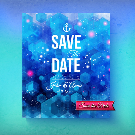 aside: Nautical themed Save The Date template with an artistic abstract blended blue background with a geometric pattern and ships anchor with white text and a graduated blue background, vector illustration Illustration