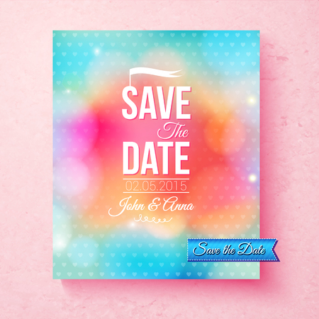 event planning: Colorful Save The Date template in blended pink, orange and blue textured with dots with classic simple white text and banner over a pink background, vector illustration Illustration