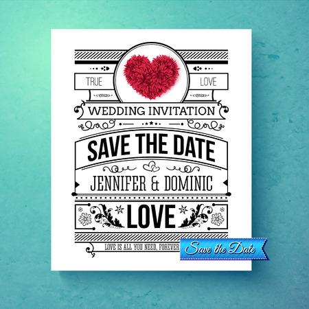 Retro stijlvolle Save The Date bruiloft sjabloon met zwarte en witte tekst met kalligrafische ornamenten en een rode symbolische hart over een afgestudeerd blauwe achtergrond, vector illustratie