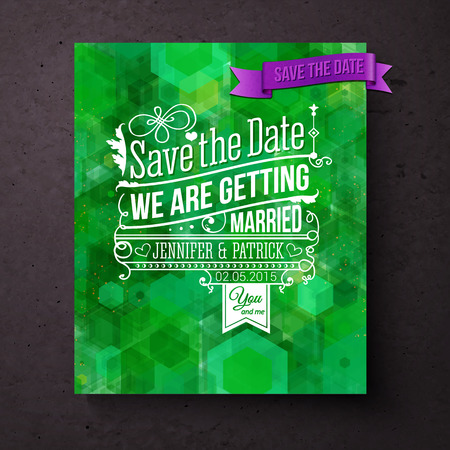aside: Pretty abstract green Save The Date wedding invitation or card template with a bokeh of geometric hexagons and stylish white text with purple banner, vector illustration Illustration