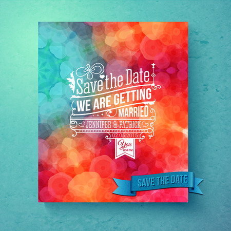 aside: Dynamic vibrant Save The Date wedding invitation template with decorative white text over a festive bokeh in shades of blue and orange with a textured graduated blue background, vector illustration