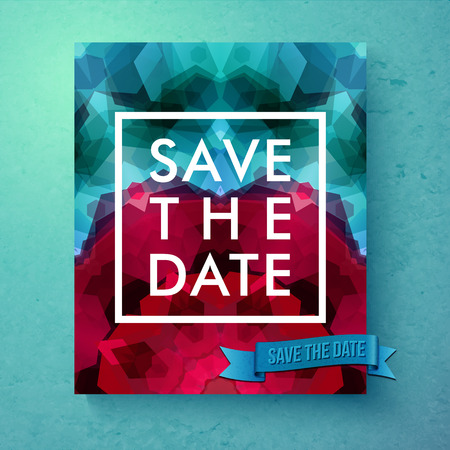 Bold simple Save The Date wedding template with simple classic white text in a frame over a geometric abstract background with blended hexagons in pink and blue, vector illustration