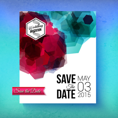 Artistic romantic Save The Date wedding invitation or card template with bold abstract geometric blue and pink patterns over white with simple black text and a graduated blue background, vector design