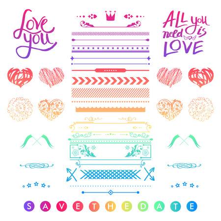 love letters: Set of colorful romantic elements for a wedding invitation with doodle sketches and calligraphic design hearts, frames, borders and text letters - Save The Date - with inspirational messages of love