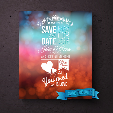 Save The Date vector wedding template with stylish white text with inspirational messages of love and editable text over a blurred abstract background in blue and red hues with symbolic hearts