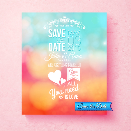 aside: Save The Date vector wedding template with white text with the date, names, and inspirational messages of love over a blurred abstract background in colorful blue, pink and orange with symbolic hearts