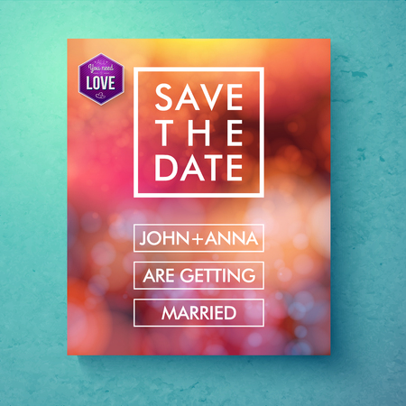 nuptials: Bold simple Save The Date template design with white text in frames and boxes over an abstract red toned background with bokeh and a purple hexagon with the word - Love, vector illustration