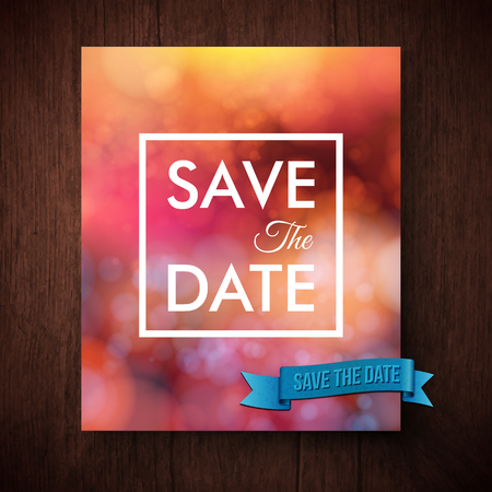 aside: Eyecatching bold simple Save The Date template for a wedding invitation with white text in a square frame over an abstract blurred red toned background with sparkling bokeh, vector design