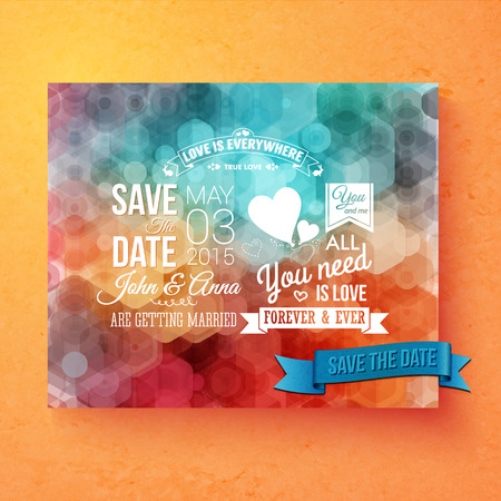nuptials: Wedding invitation vector template with Save The Date white text and inspirational romantic messages over a colorful abstract pattern with geometric hexagonal bokeh on a graduated orange background
