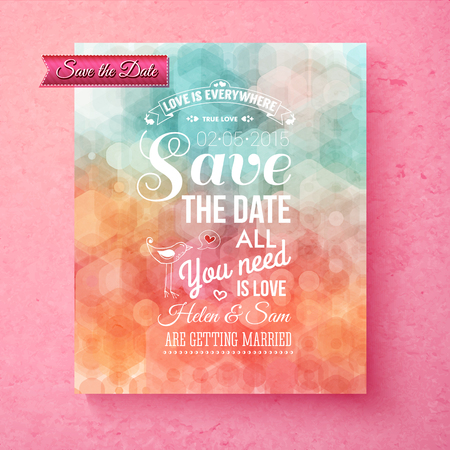 bokeh message: Elegant Save The Date wedding template with a geometric hexognal bokeh over muted blue and orange hues with white text and an inspirational message of Love, vector illustration