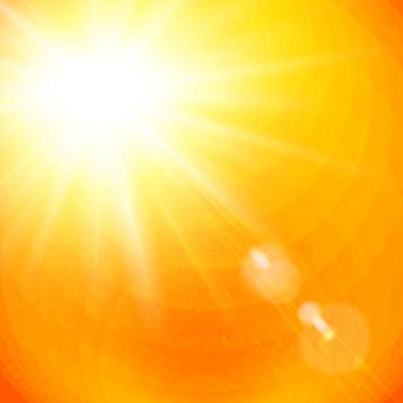 sunshine background: Vivid orange sunburst with sun flare from gases depicting the heat of a hot tropical summer sun, or a colorful sunset or sunrise, vector illustration